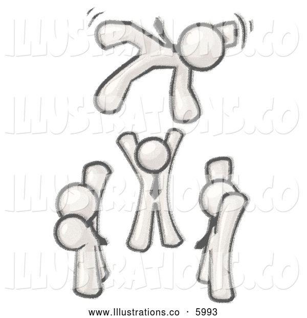 Royalty Free Stock Illustration of a Greyscale Sketched Design Mascot Men Tossing Another into the Air While Celebrating an Achievement