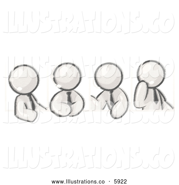 Royalty Free Stock Illustration of a Greyscale Sketched Design Mascot Men Wearing Headsets and Having a Discussion During a Phone Meeting