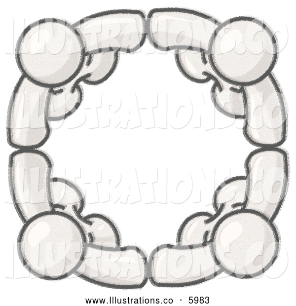 Royalty Free Stock Illustration of a Greyscale Sketched Design Mascots Standing in a Circle, Holding Hands, Conceptualizing Team Work, Friendship, Support, Networking, Family, Co-Workers, and Unity