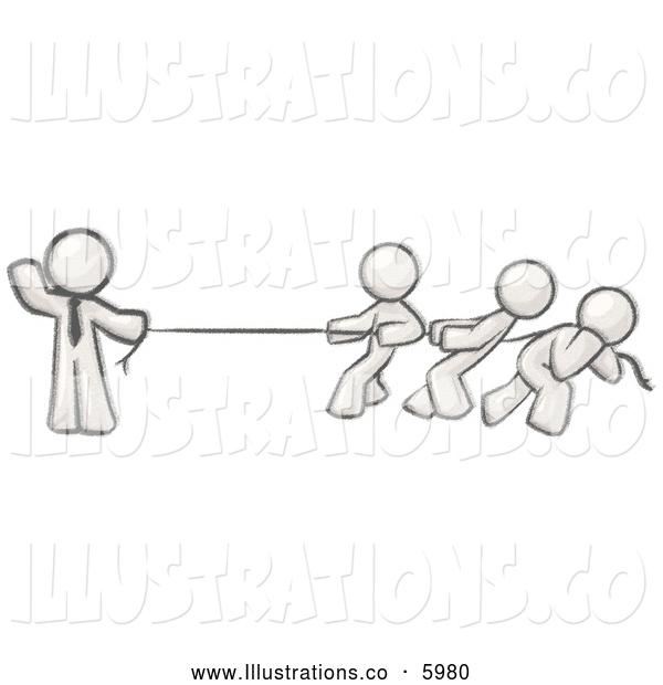 Royalty Free Stock Illustration of a Greyscale Sketched Man Easily Holding a Rope While Three Others Pull on the Other Side