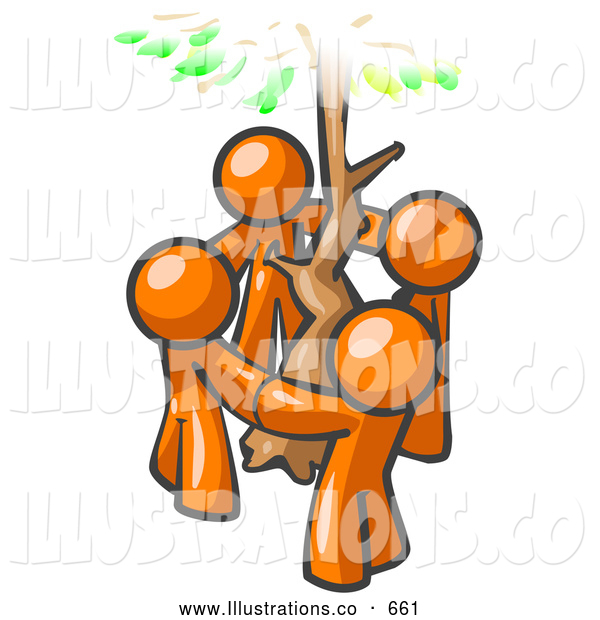 Royalty Free Stock Illustration of a Group of 4 Friendly Orange Man Standing in a Circle Around a Tree