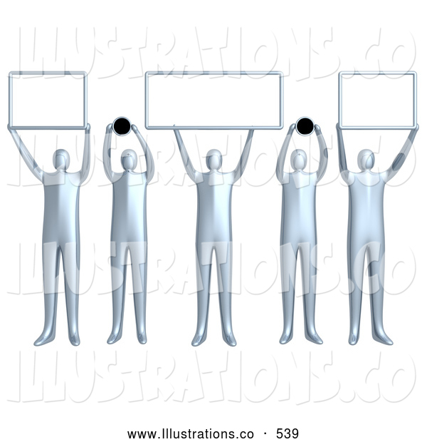 Royalty Free Stock Illustration of a Group of 5 Silver People Holding up Blank Boxes and Dots for a Domain Name to Be Entered