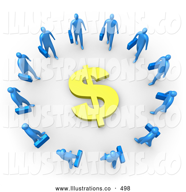 Royalty Free Stock Illustration of a Group of Blue Businesspeople Carrying Briefcases Standing in a Circle Around a Dollar Sign