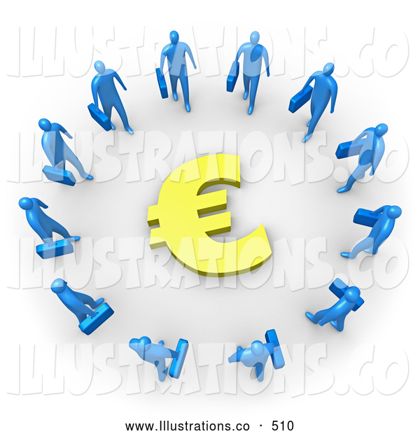 Royalty Free Stock Illustration of a Group of Blue Businesspeople Carrying Briefcases Standing in a Circle Around a Euro Sign