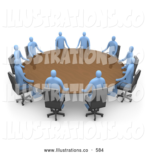 Royalty Free Stock Illustration of a Group of Blue Men Seated and Holding a Meeting at a Large Golden Conference Table