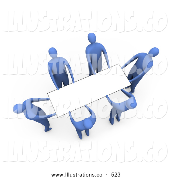 Royalty Free Stock Illustration of a Group of Blue Men Working Together to Lift a Blank White Sign Which Is Ready for an Advertisement