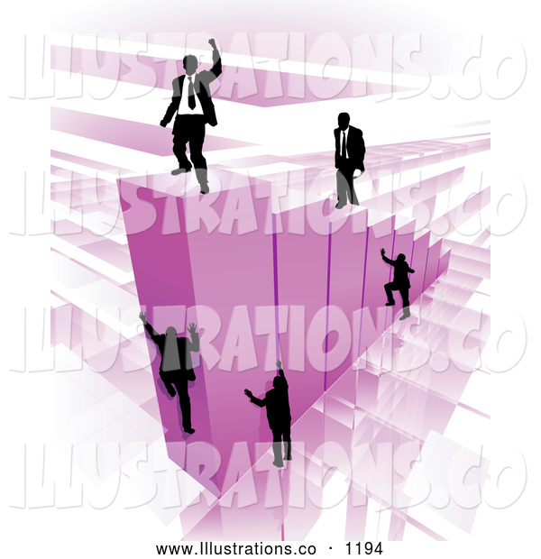 Royalty Free Stock Illustration of a Group of Businessmen Climbing Purple Bars to Reach the Top Where a Proud Business Man Stands