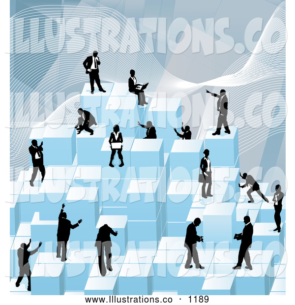 Royalty Free Stock Illustration of a Group of Businessmen Working Together As a Team to Stack Blue Building Blocks of Success