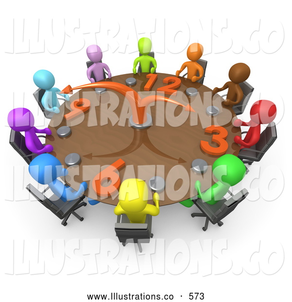 Royalty Free Stock Illustration of a Group of Colorful and Diverse Busy Men on a Tight Schedule Holding a Meeting About Labour Hours Around a Giant Clock Conference Table