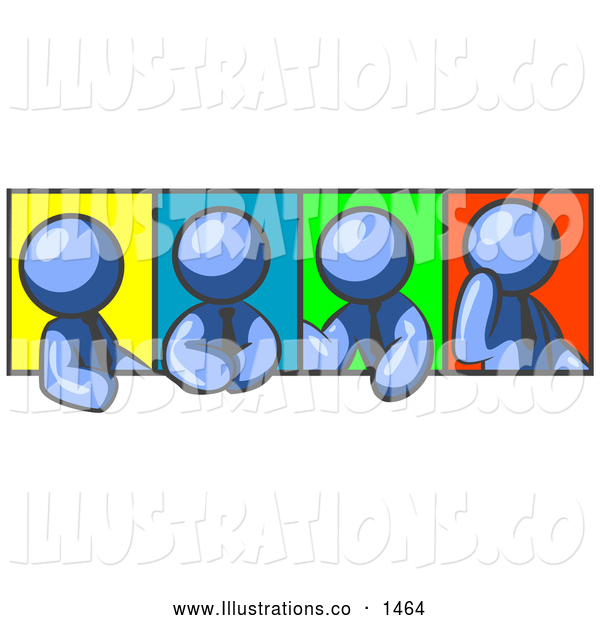 Royalty Free Stock Illustration of a Group of Four Blue Men in Different Poses Against Colorful Backgrounds, Perhaps During a Meeting