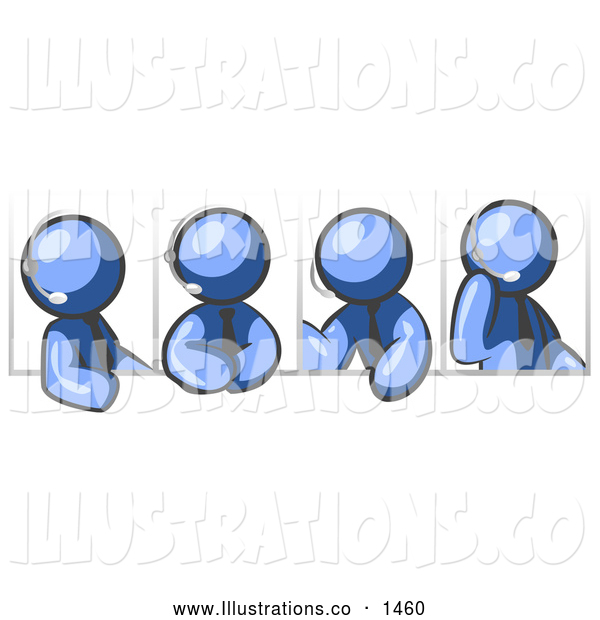 Royalty Free Stock Illustration of a Group of Four Different Blue Men Wearing Headsets and Having a Discussion During a Phone Meeting