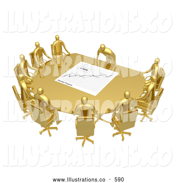 Royalty Free Stock Illustration of a Group of Gold People Seated and Holding a Meeting at a Golden Conference Table While the Boss Reviews a Financial Chart