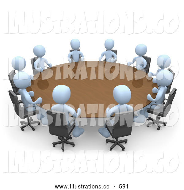 Royalty Free Stock Illustration of a Group of Light Blue People Holding an Office Meeting at a Large Conference Table in an Office