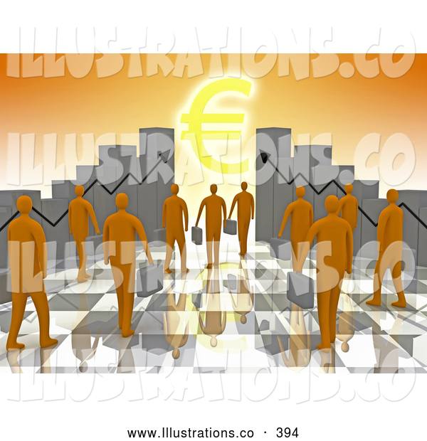 Royalty Free Stock Illustration of a Group of Orange Business People Carrying Briefcases Towards an Entrance Framed by Bar Graph Charts with a Euro Symbol Shining like the Sun