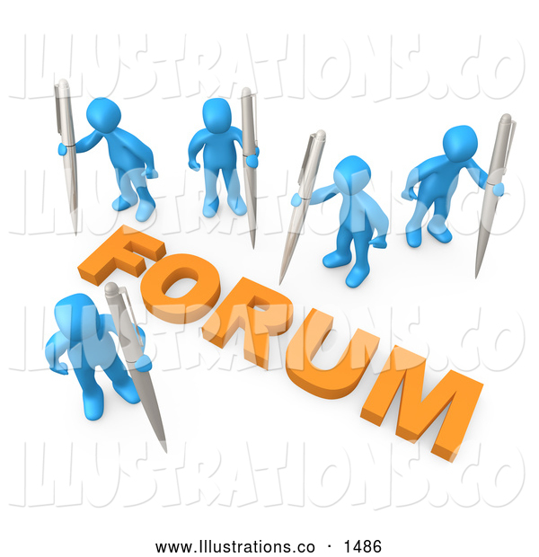 Royalty Free Stock Illustration of a Group of Professional Blue People Holding Their Own Pens, Writing in a Group Forum