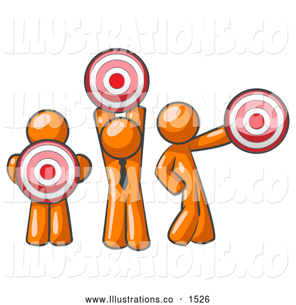 Royalty Free Stock Illustration of a Group of Three Orange Men Holding Bullseye Red Targets in Different Positions