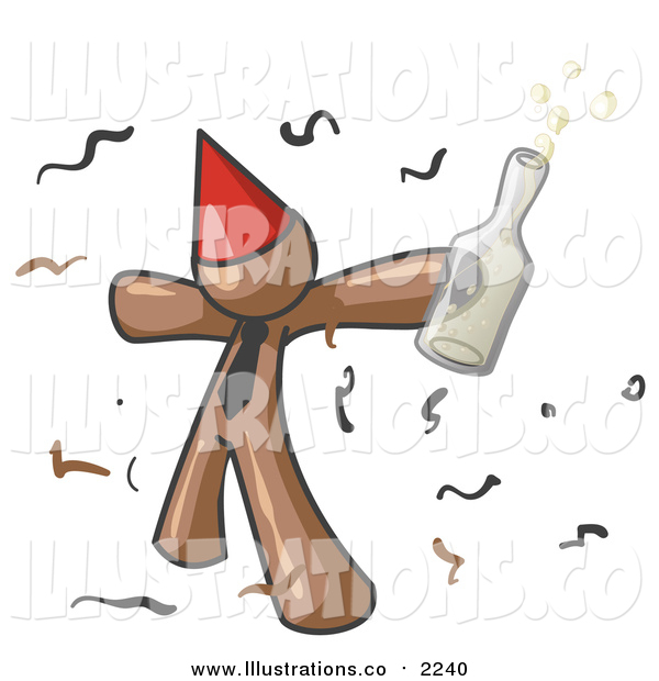 Royalty Free Stock Illustration of a Happy Brown Business Man Partying with a Party Hat, Confetti and a Bottle of Liquor