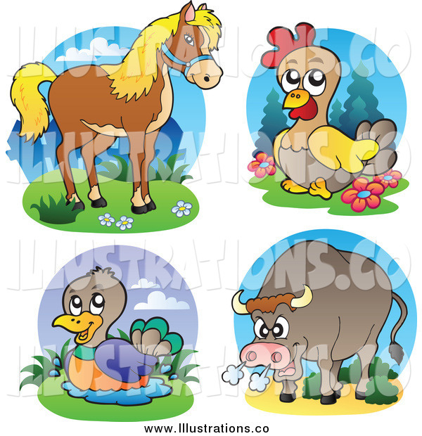Royalty Free Stock Illustration of a Horse, Chicken, Duck and Angry Bull