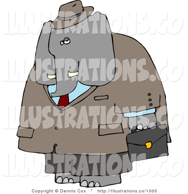 Royalty Free Stock Illustration of a Human-like Male Business Elephant Carrying a Briefcase While Going to Work