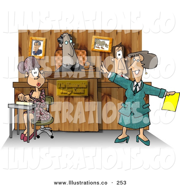 Royalty Free Stock Illustration of a Judge, Witness, Stenographer, and Lawyer in a Courtroom, Working on a Case