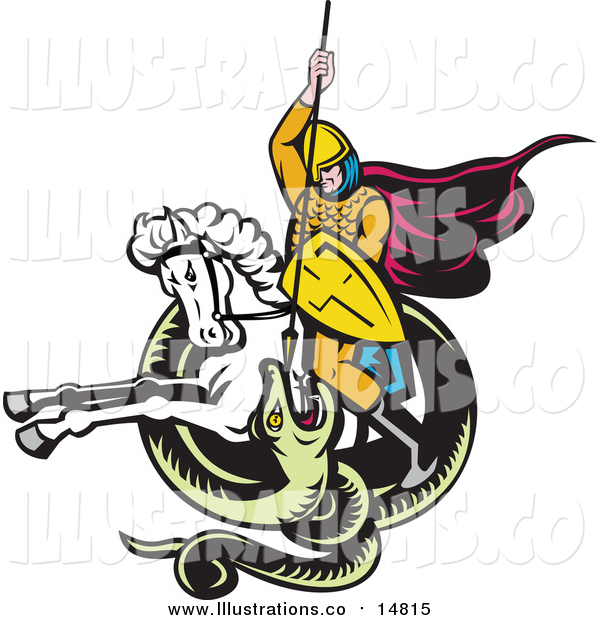Royalty Free Stock Illustration of a Knight on Horseback Spearing a Snake
