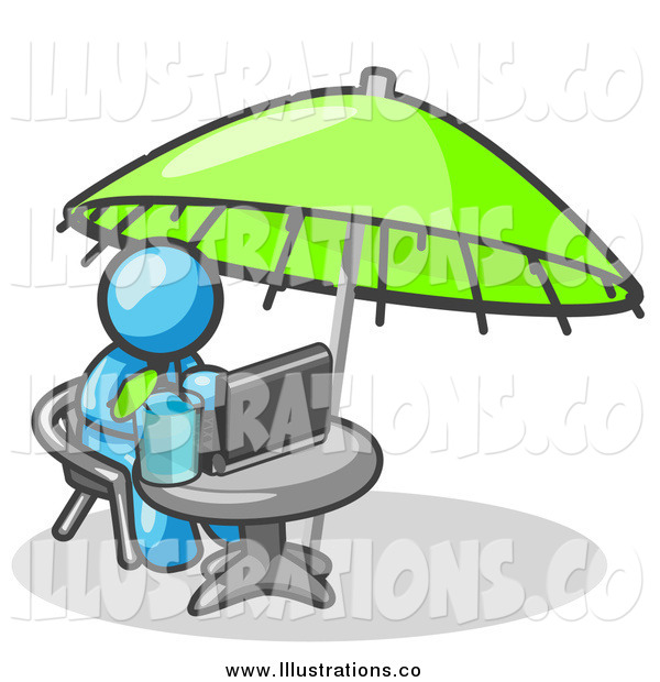 Royalty Free Stock Illustration of a Light Blue Business Man Sitting Under an Umbrella at a Table Using a Laptop Computer