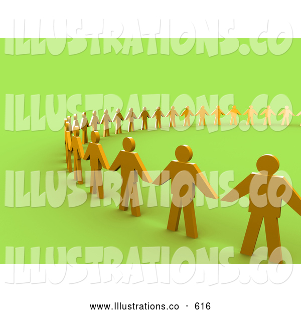 Royalty Free Stock Illustration of a Line of Golden People Standing Side by Side and Holding Hands While Forming a Large Circle, Symbolizing Teamwork, Support, or Taking a Stand