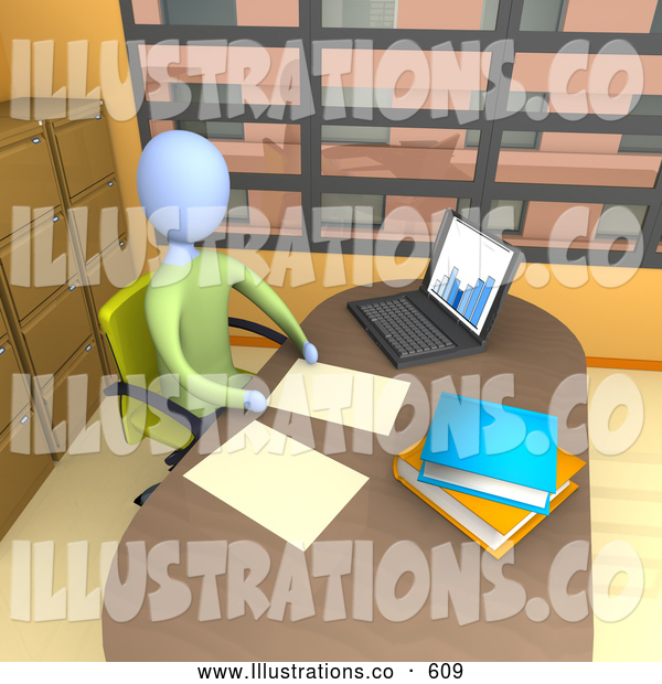 Royalty Free Stock Illustration of a Lonely Businessperson Seated in a Chair at Their Desk by a Laptop Computer, Working on Paperwork in a Highrise Office in the City