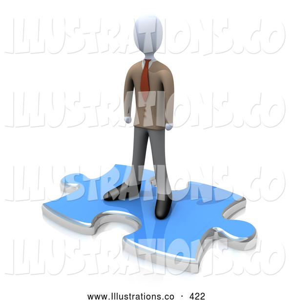 Royalty Free Stock Illustration of a Lonely Person Standing on a Blue Puzzle Piece, Symbolizing the Missing Piece to a Puzzle, Someone Coming in to Solve Problems, Etc