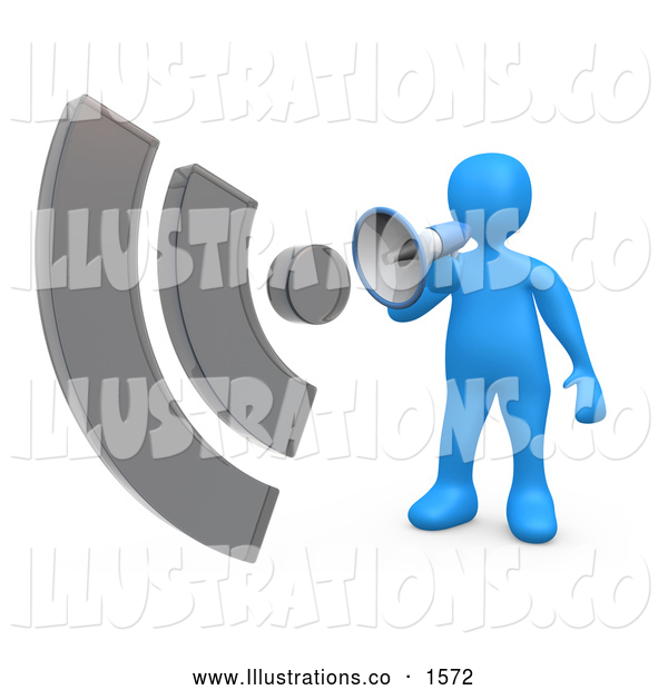 Royalty Free Stock Illustration of a Loud Blue Person Shouting Through a Megaphone with Sound Waves