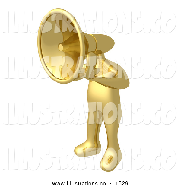 Royalty Free Stock Illustration of a Loud Gold Person with a Megaphone Head Shouting Orders or Announcements
