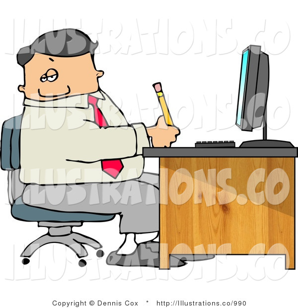 Royalty Free Stock Illustration of a Male Businessperson Filling out Paperwork at Wood Computer Desk in His Office