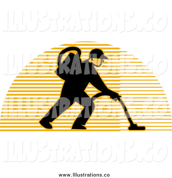 Royalty Free Stock Illustration of a Male Carpet Cleaner over a Lined Half Circle