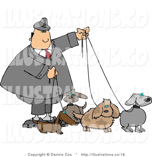 Royalty Free Stock Illustration of a Man in a Suit Walking Four Dogs on Leashes