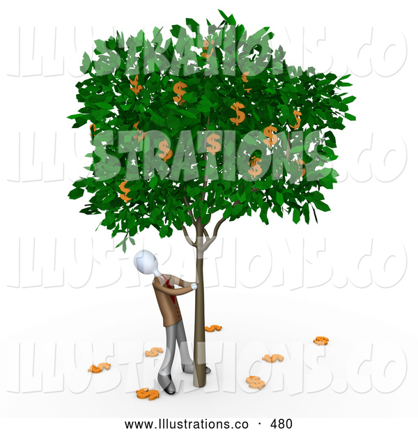 Royalty Free Stock Illustration of a Man Shaking a Tree That Grows Dollars