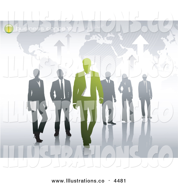 Royalty Free Stock Illustration of a Map with Sample Text and Business People
