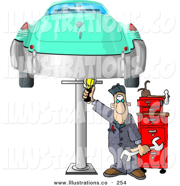 Royalty Free Stock Illustration of a Mechanic Working on an Old Classic Car on a White Background