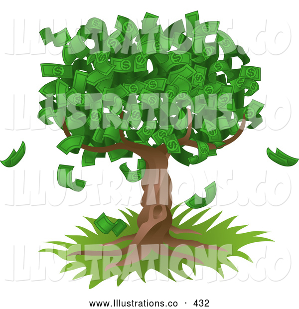 Royalty Free Stock Illustration of a Money Tree Growing an Abundant Amount of Dollar Bills, Symbolizing Environmental Expenses, Trust Funds, Riches, Etc