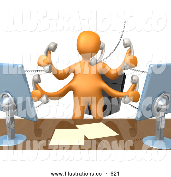 Royalty Free Stock Illustration of a Multitasking Busy Orange Employee Standing in Front of Their Desk Chair, Two Computer Screens and Papers on Their Desk Taking Multiple Phone Calls at Once