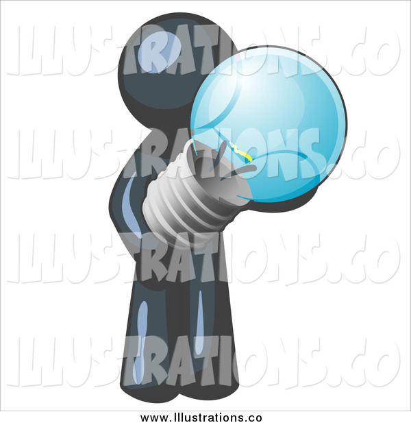Royalty Free Stock Illustration of a Navy Blue Man Holding a Glass Lightbulb