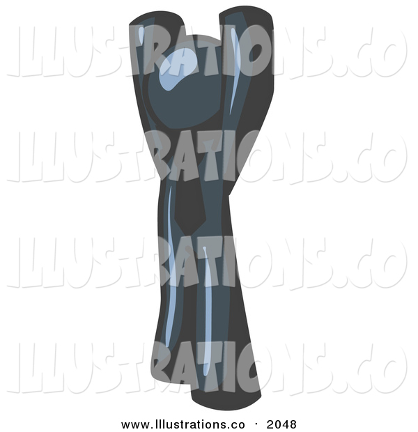 Royalty Free Stock Illustration of a Navy Blue Man with His Arms Above His Head