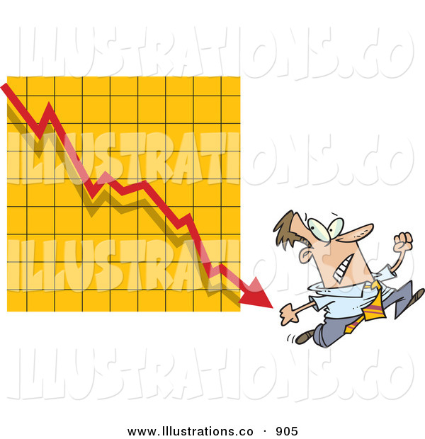 Royalty Free Stock Illustration of a Nervous Man Running from a Bar on a Declining Graph over Yellow