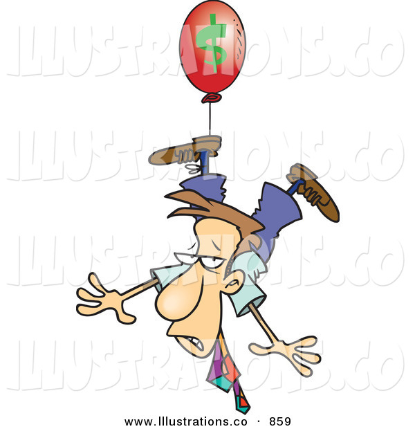 Royalty Free Stock Illustration of a Nervous White Business Man Being Carried Away by a Red Inflation Balloon