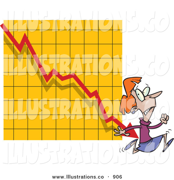 Royalty Free Stock Illustration of a Nervous White Woman Running from a Bar on a Declining Graph