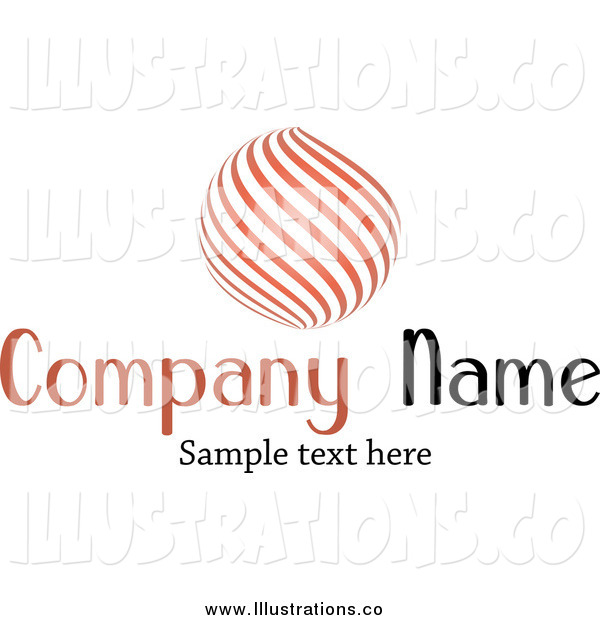 Royalty Free Stock Illustration of a Orange Orb of Curves and Sample Text
