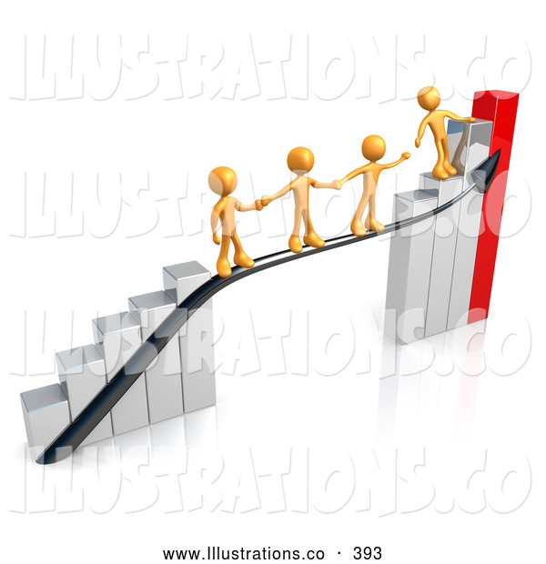 Royalty Free Stock Illustration of a Orange Person Standing on a Bright Silver and Red Bar Graph Chart, Reaching Back to Assist Others up to the Top
