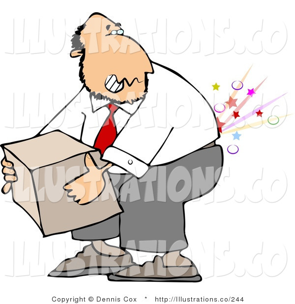 Royalty Free Stock Illustration of a Pained Businessman Cracking and Injuring His Lower Back While Lifting a Heavy Box the Wrong Way
