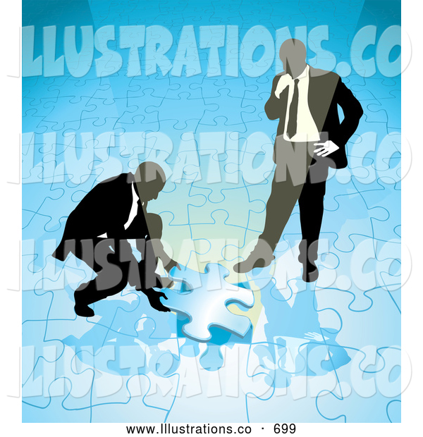 Royalty Free Stock Illustration of a Pair of Two Businessmen Completing a Blue Jigsaw Puzzle Together