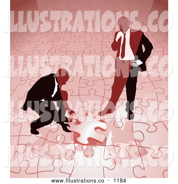 Royalty Free Stock Illustration of a Pair of Two Businessmen Completing a Red Jigsaw Puzzle Together