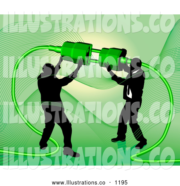 Royalty Free Stock Illustration of a Pair of Two Businessmen Working Together to Connect a Plug and Socket over Green